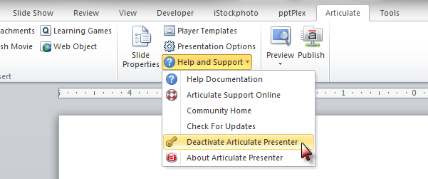 How to Deactivate Presenter \'09 - Articulate Support