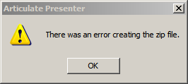 There was an error creating the zip file.