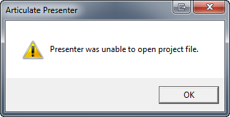 Presenter was unable to open project file